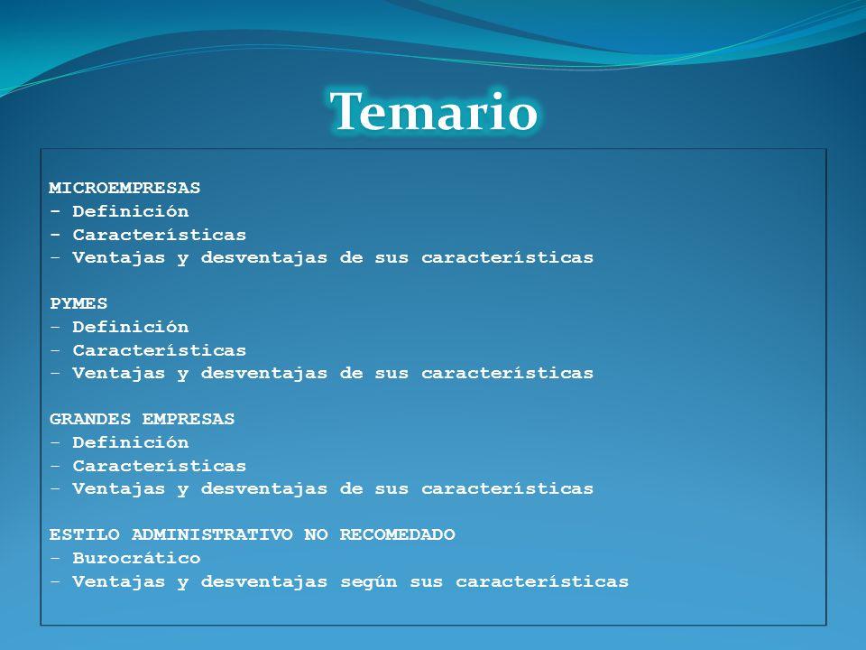 Temario MICROEMPRESAS - Definición - Características
