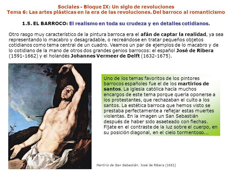 Sociales - Bloque IX: Un siglo de revoluciones Tema 6: Las artes plásticas en la era de las revoluciones. Del barroco al romanticismo