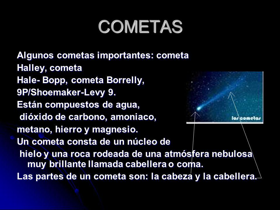 COMETAS Algunos cometas importantes: cometa Halley, cometa
