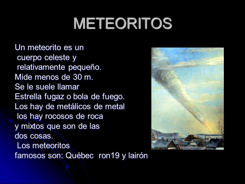 METEORITOS Un meteorito es un cuerpo celeste y relativamente pequeño.