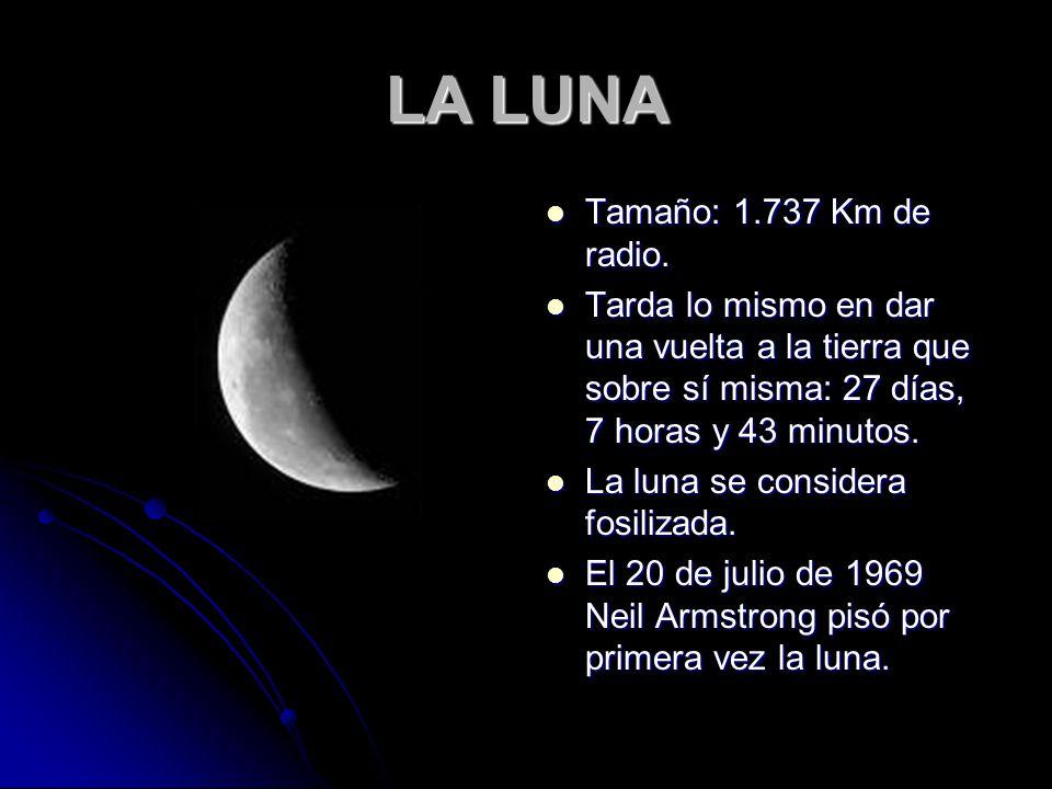 LA LUNA Tamaño: 1.737 Km de radio.