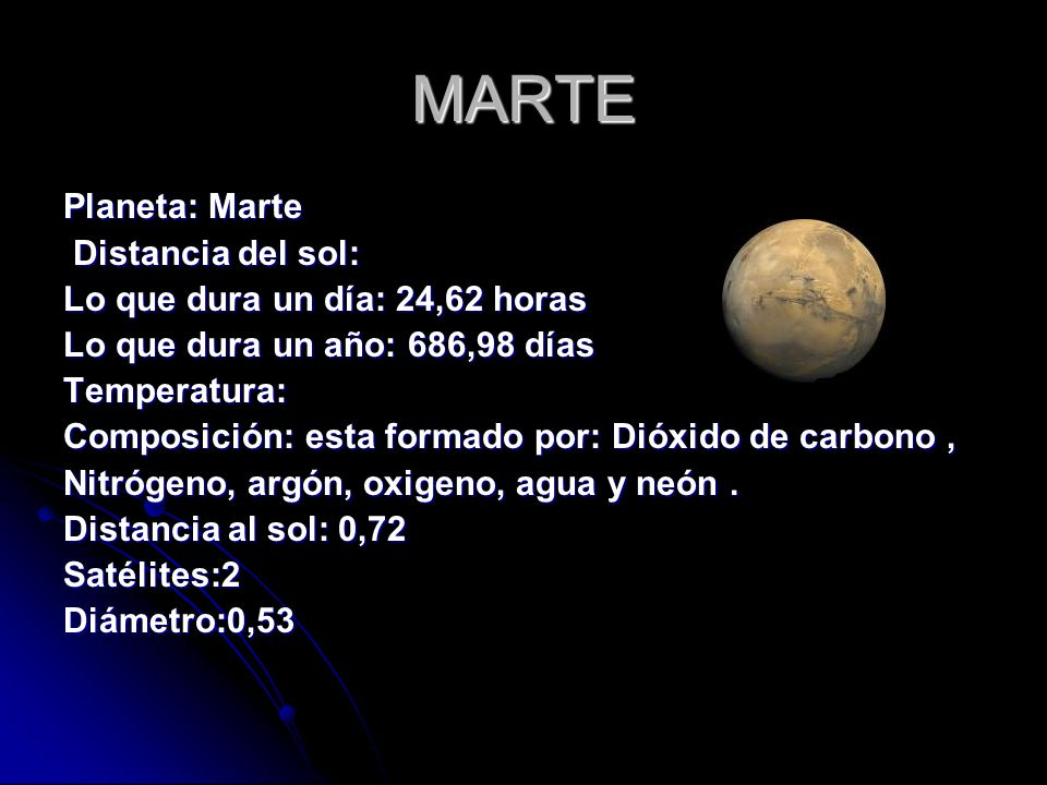 MARTE Planeta: Marte Distancia del sol: