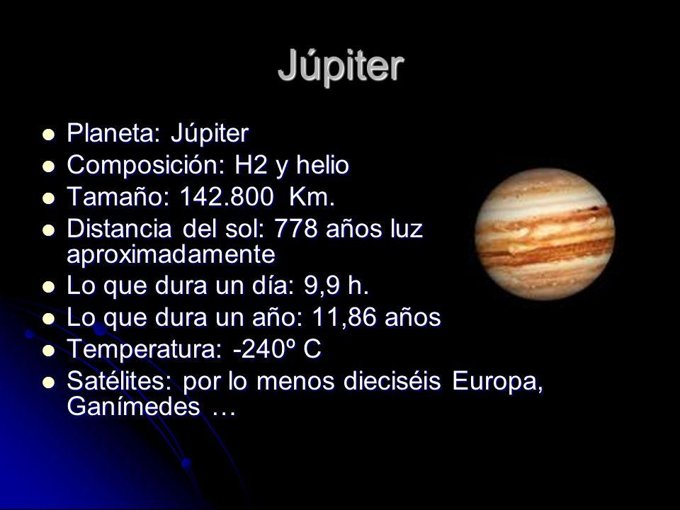 Júpiter Planeta: Júpiter Composición: H2 y helio Tamaño: 142.800 Km.
