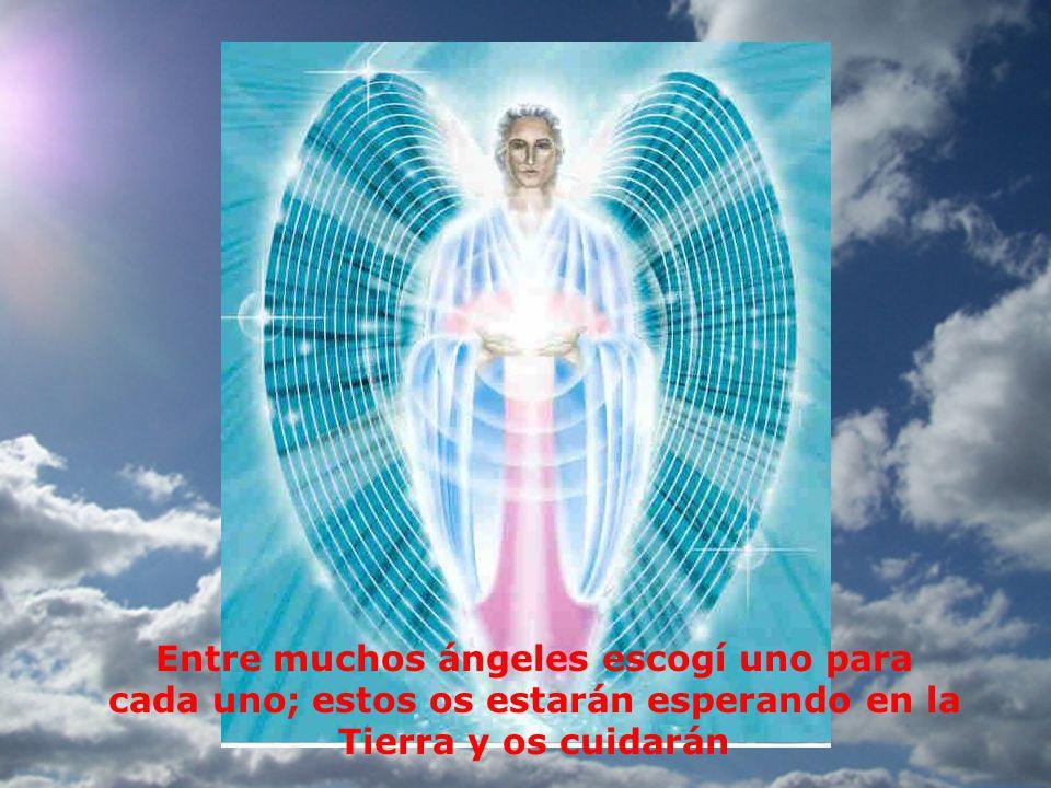 Entre muchos ángeles escogí uno para cada uno; estos os estarán esperando en la Tierra y os cuidarán