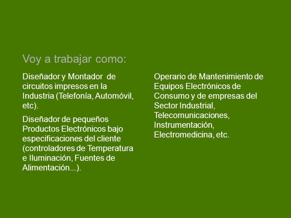 Voy a trabajar como: Diseñador y Montador de circuitos impresos en la Industria (Telefonía, Automóvil, etc).
