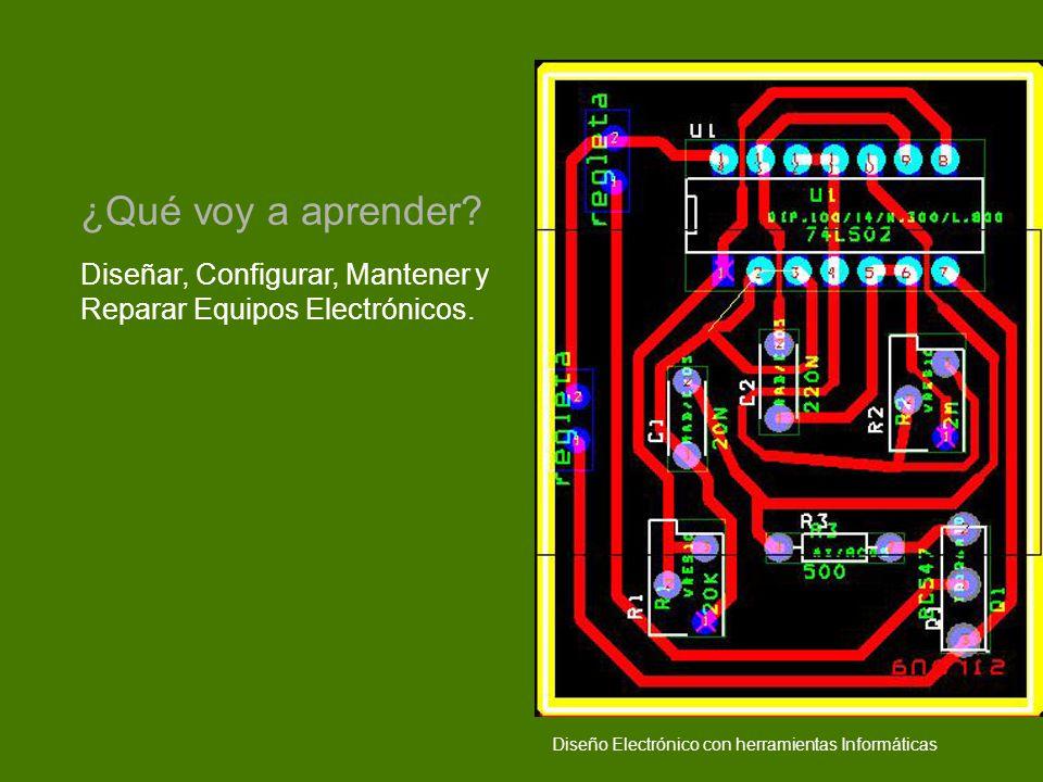 ¿Qué voy a aprender. Diseñar, Configurar, Mantener y Reparar Equipos Electrónicos.