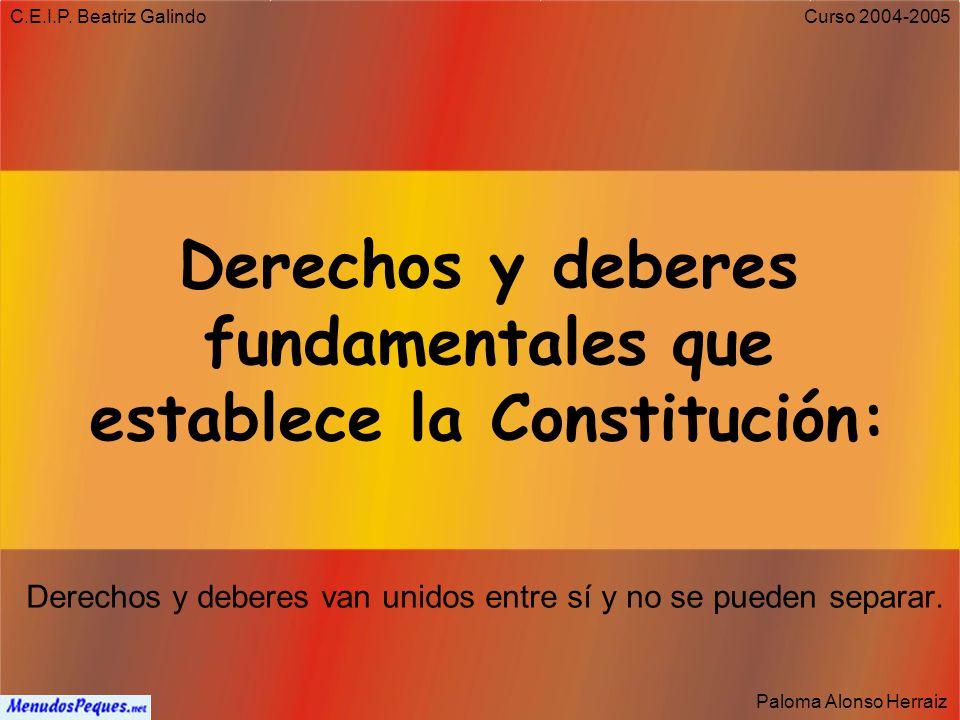 Derechos y deberes fundamentales que establece la Constitución: