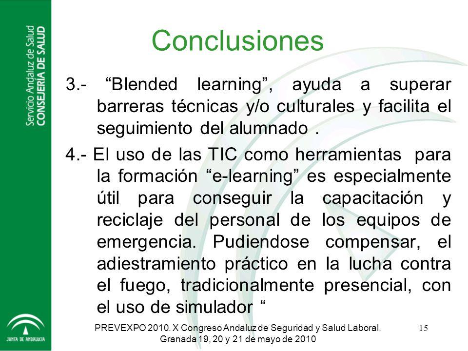 Conclusiones 3.- Blended learning , ayuda a superar barreras técnicas y/o culturales y facilita el seguimiento del alumnado .