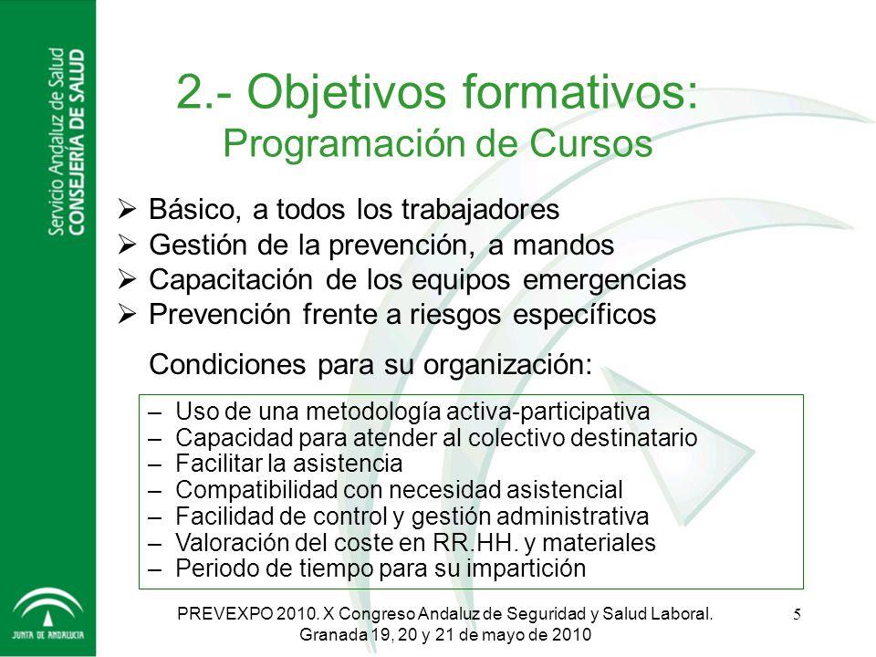 2.- Objetivos formativos: Programación de Cursos