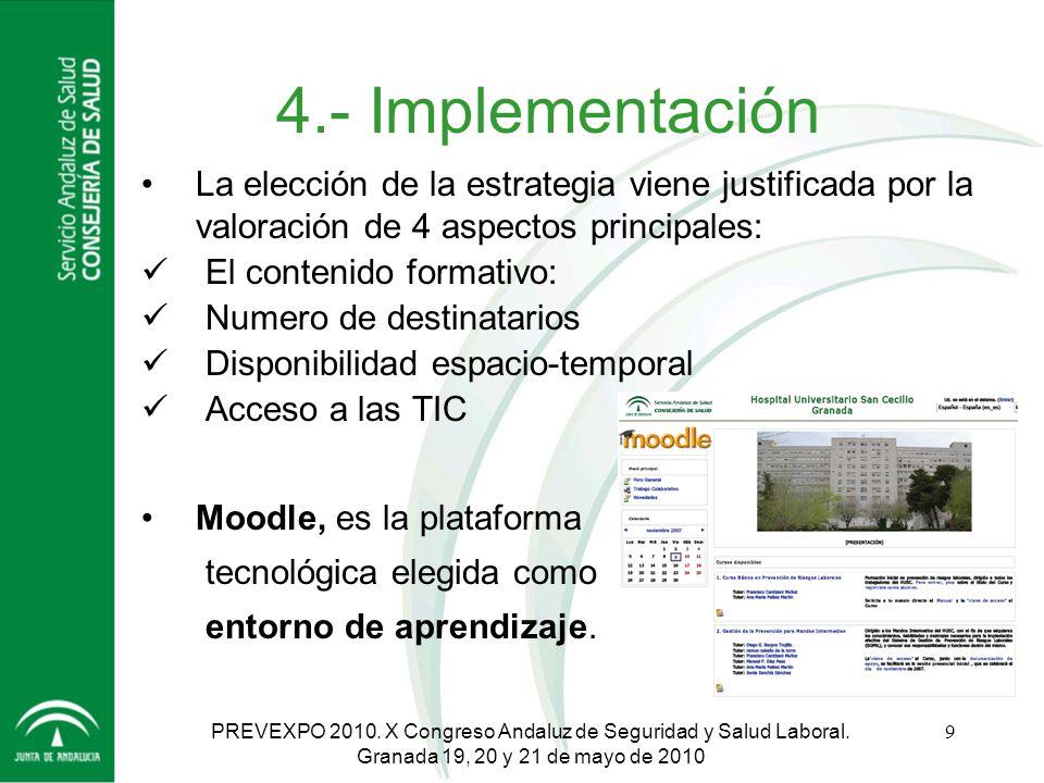 4.- Implementación La elección de la estrategia viene justificada por la valoración de 4 aspectos principales: