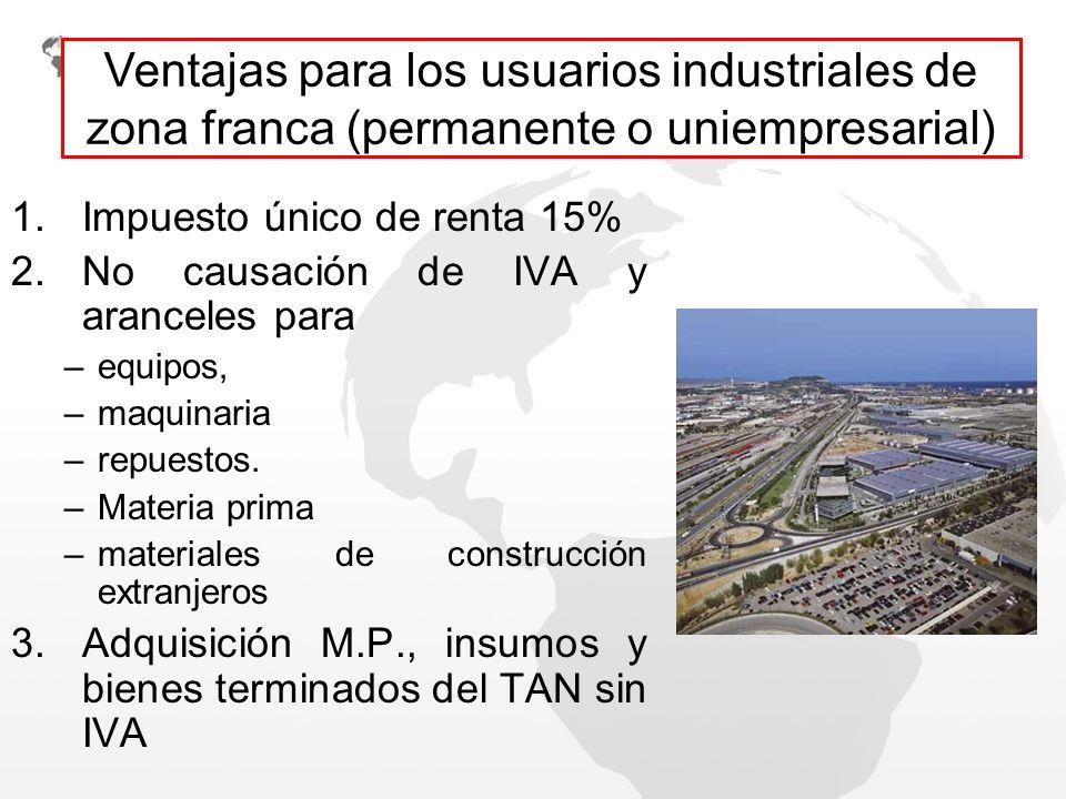 Ventajas para los usuarios industriales de zona franca (permanente o uniempresarial)