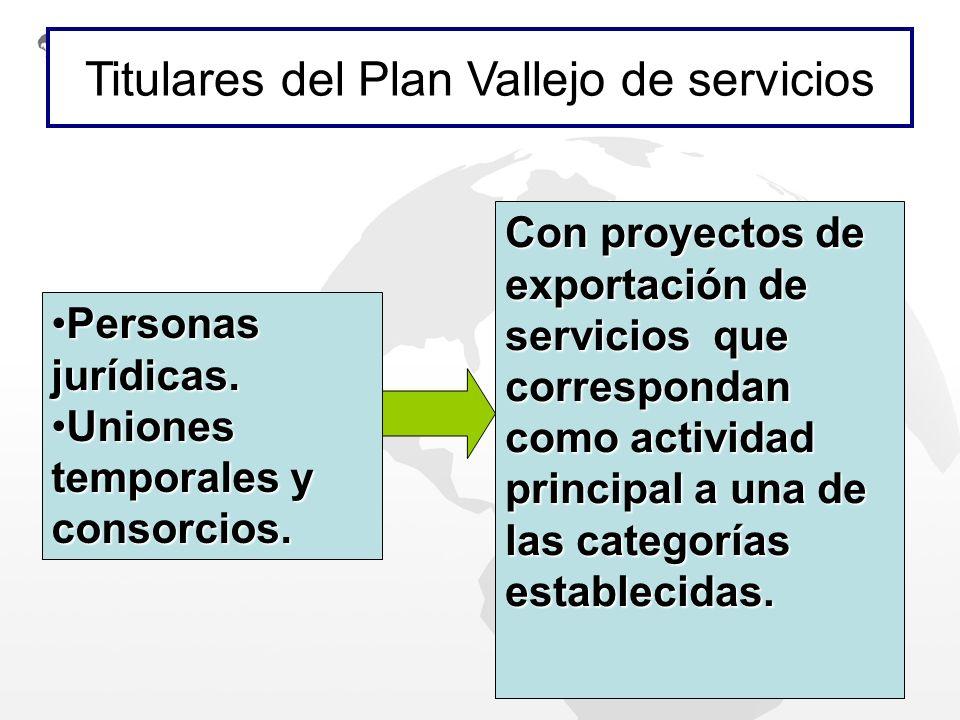 Titulares del Plan Vallejo de servicios