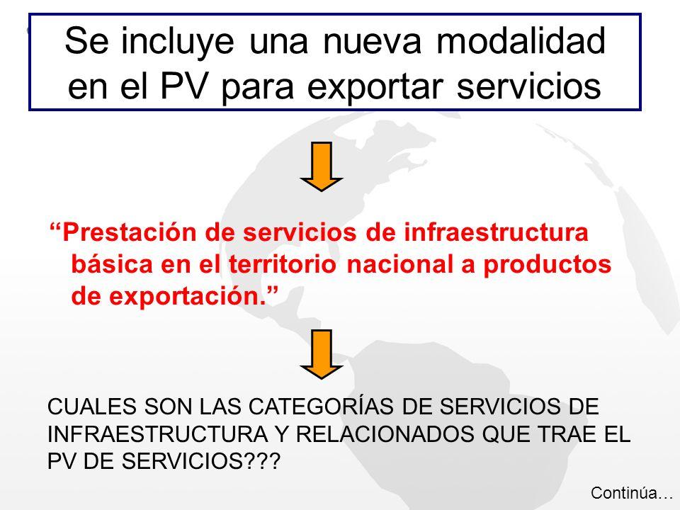 Se incluye una nueva modalidad en el PV para exportar servicios