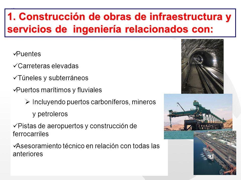 1. Construcción de obras de infraestructura y servicios de ingeniería relacionados con: