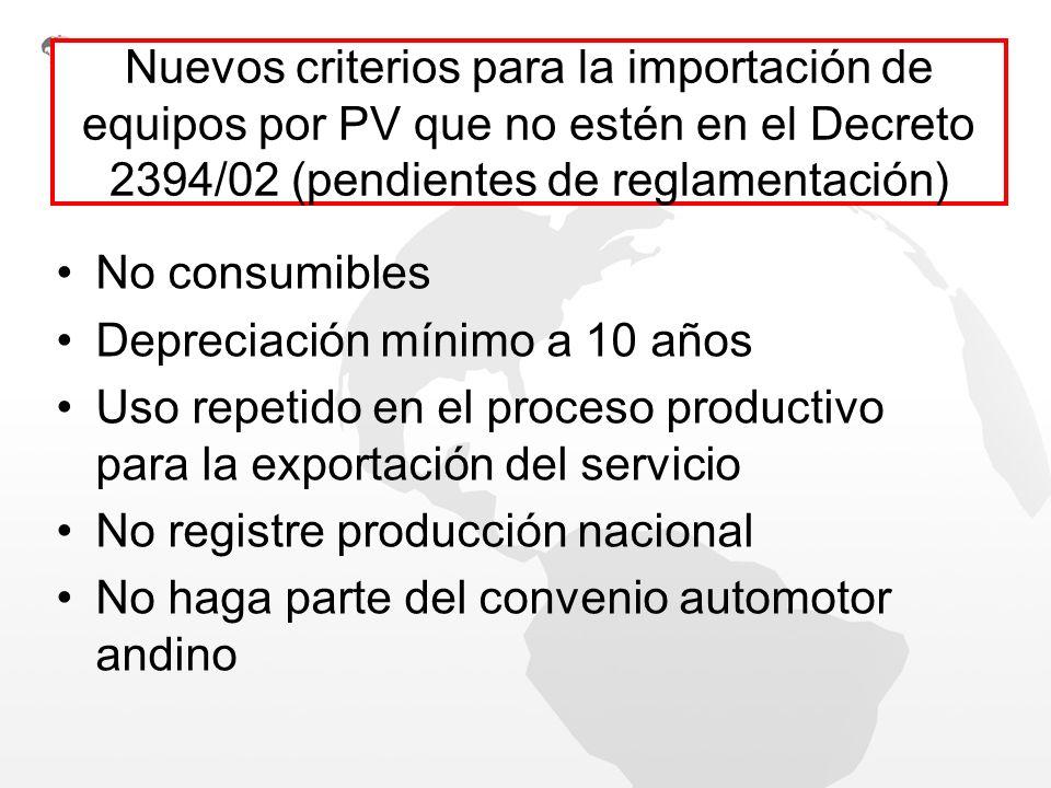 Nuevos criterios para la importación de equipos por PV que no estén en el Decreto 2394/02 (pendientes de reglamentación)