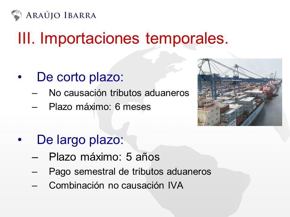 III. Importaciones temporales.