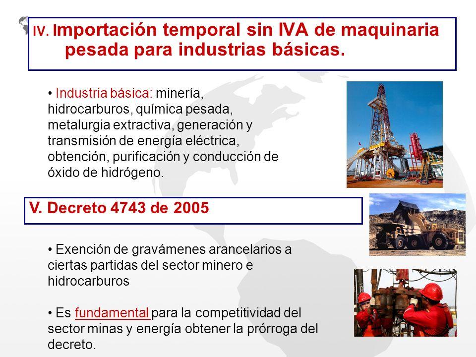 IV. Importación temporal sin IVA de maquinaria pesada para industrias básicas.