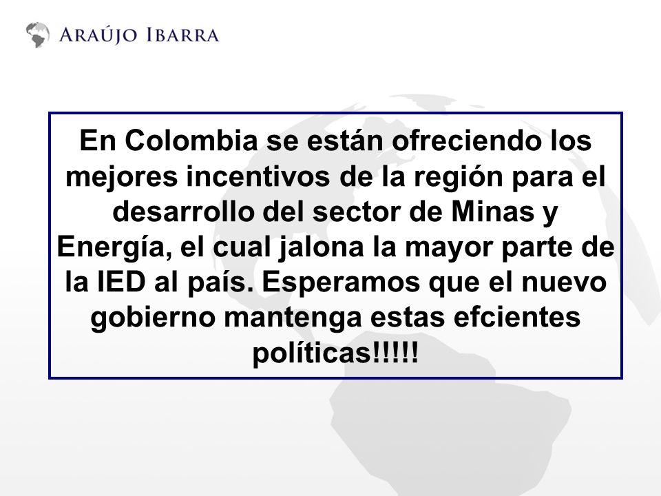 En Colombia se están ofreciendo los mejores incentivos de la región para el desarrollo del sector de Minas y Energía, el cual jalona la mayor parte de la IED al país.