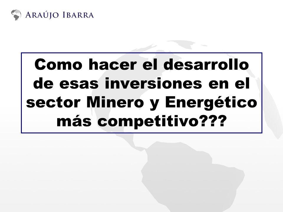Como hacer el desarrollo de esas inversiones en el sector Minero y Energético más competitivo