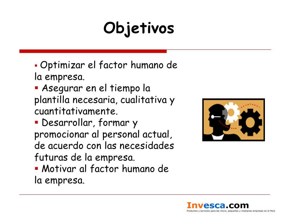 Objetivos Optimizar el factor humano de la empresa. Asegurar en el tiempo la plantilla necesaria, cualitativa y cuantitativamente.