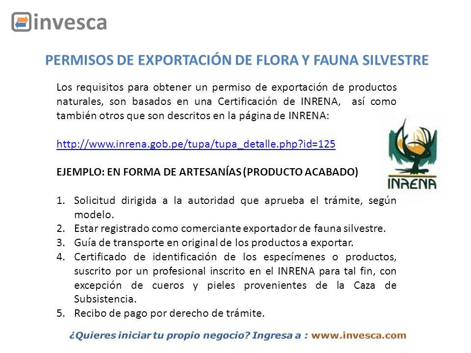 PERMISOS DE EXPORTACIÓN DE FLORA Y FAUNA SILVESTRE