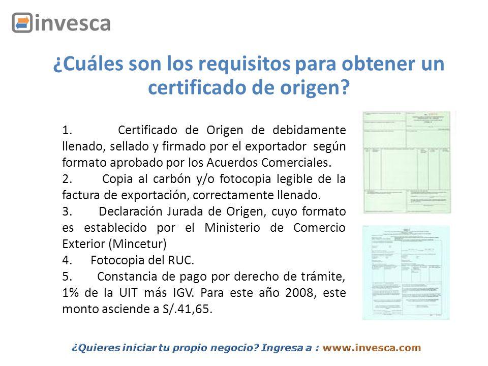 ¿Cuáles son los requisitos para obtener un certificado de origen