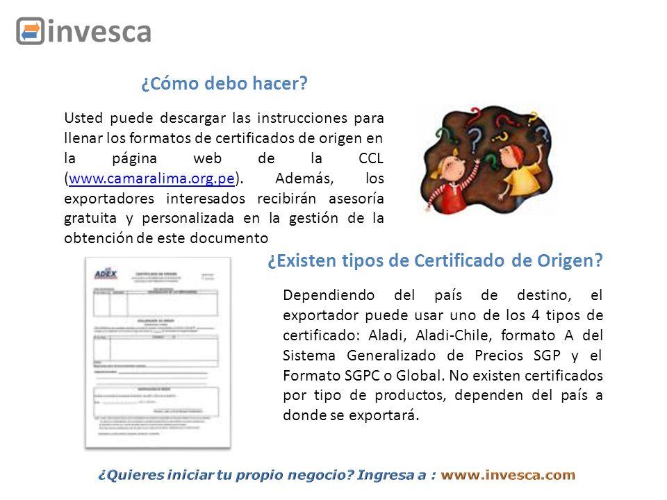 ¿Existen tipos de Certificado de Origen