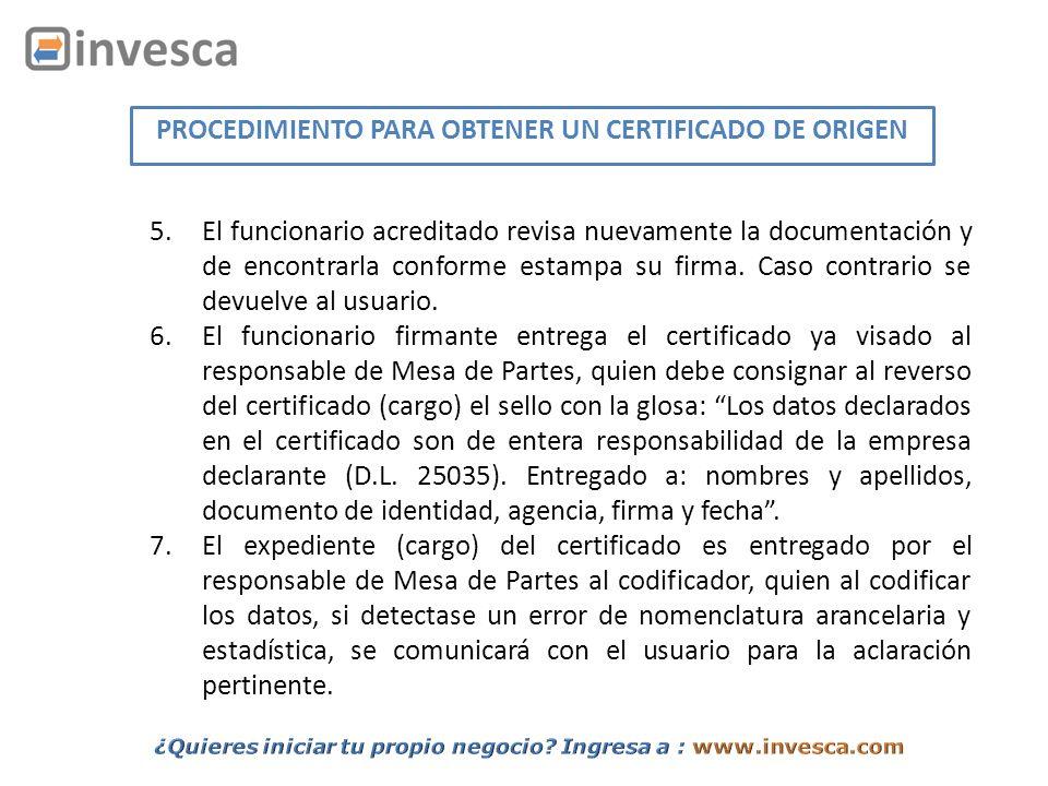 PROCEDIMIENTO PARA OBTENER UN CERTIFICADO DE ORIGEN