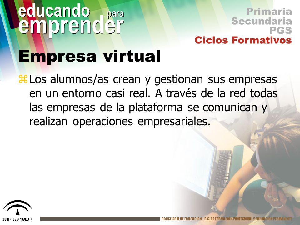 Primaria Secundaria. PGS. Ciclos Formativos. Empresa virtual.