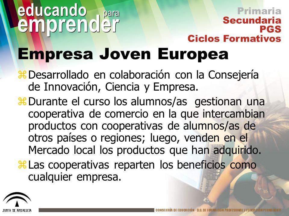 Primaria Secundaria. PGS. Ciclos Formativos. Empresa Joven Europea.