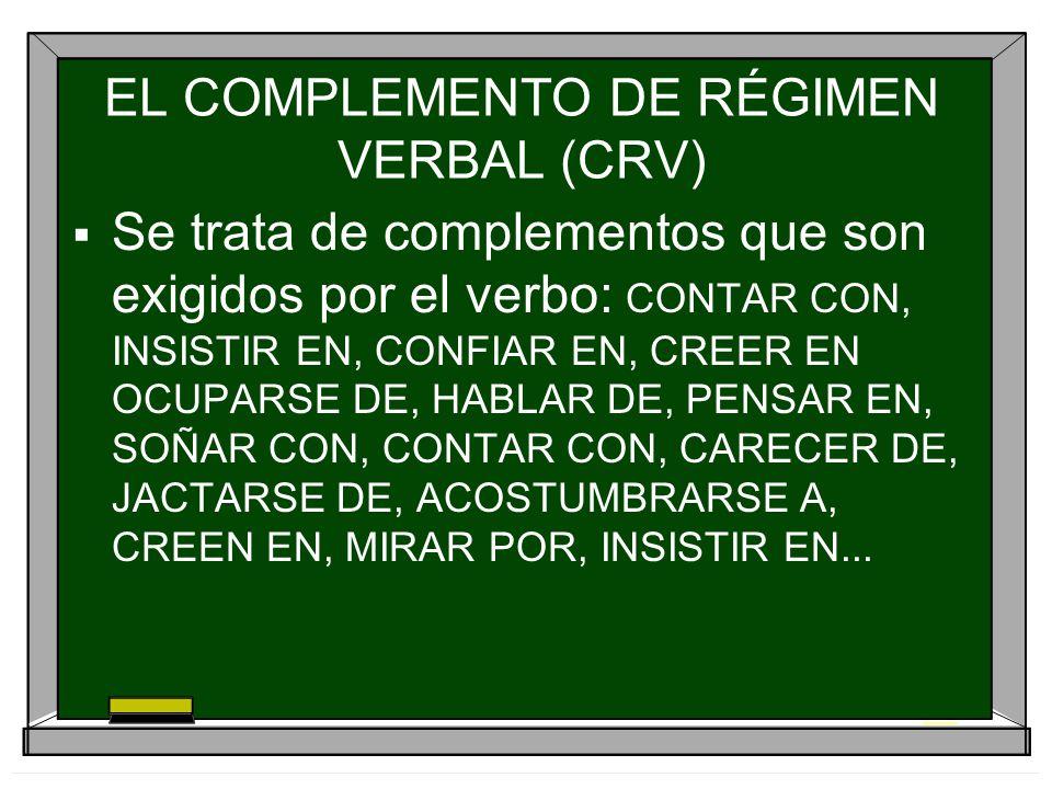 EL COMPLEMENTO DE RÉGIMEN VERBAL (CRV)