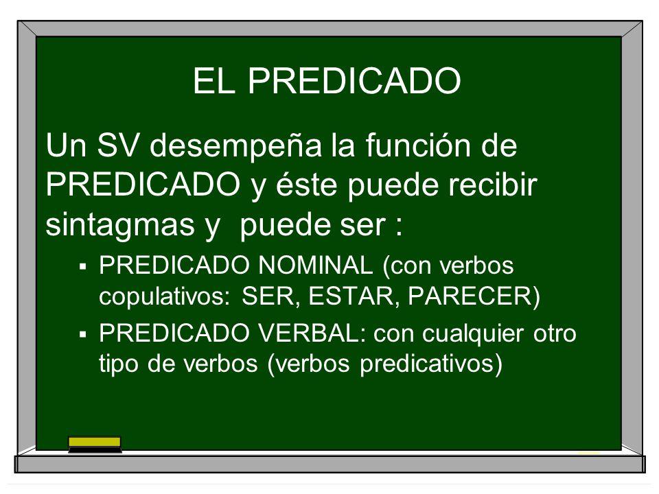 EL PREDICADO Un SV desempeña la función de PREDICADO y éste puede recibir sintagmas y puede ser :