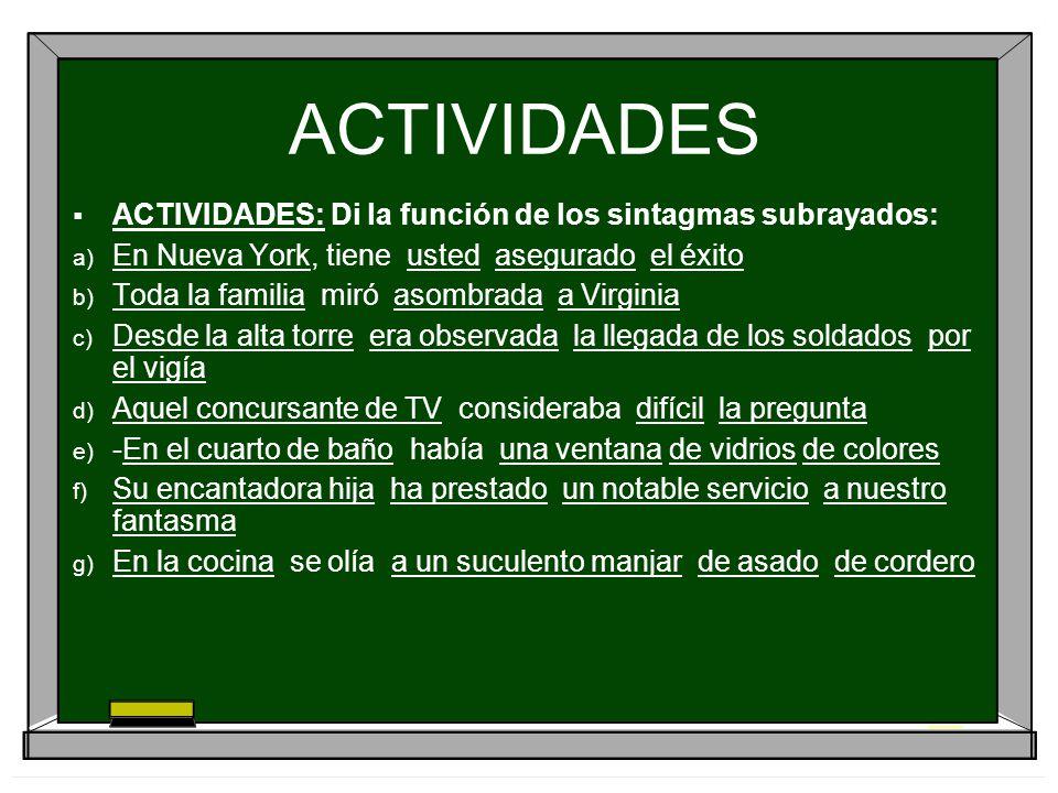 ACTIVIDADES ACTIVIDADES: Di la función de los sintagmas subrayados: