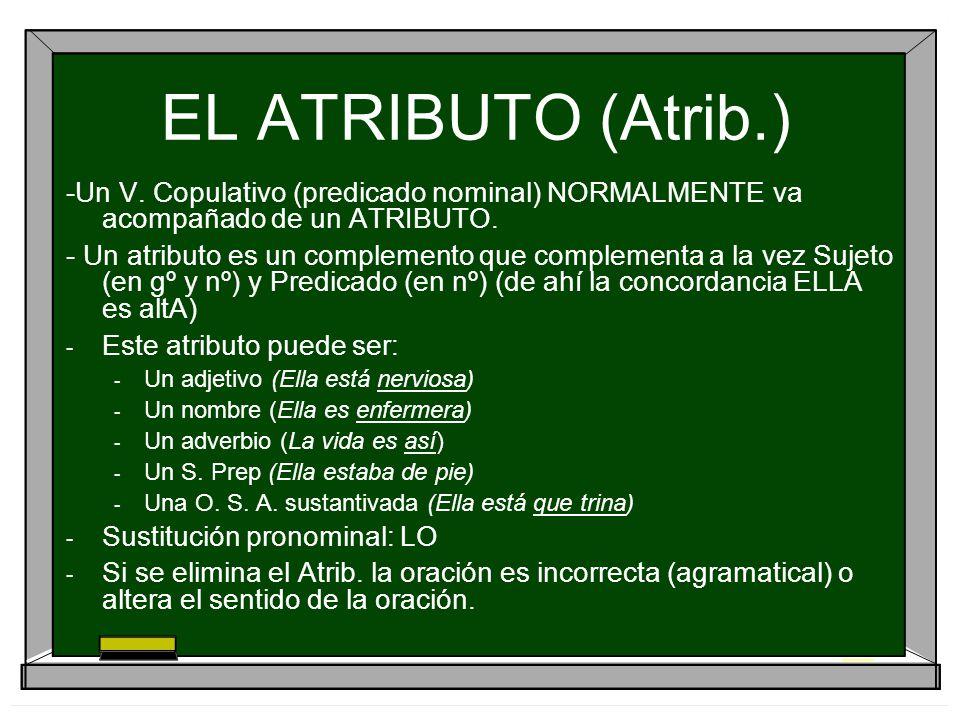 EL ATRIBUTO (Atrib.) -Un V. Copulativo (predicado nominal) NORMALMENTE va acompañado de un ATRIBUTO.