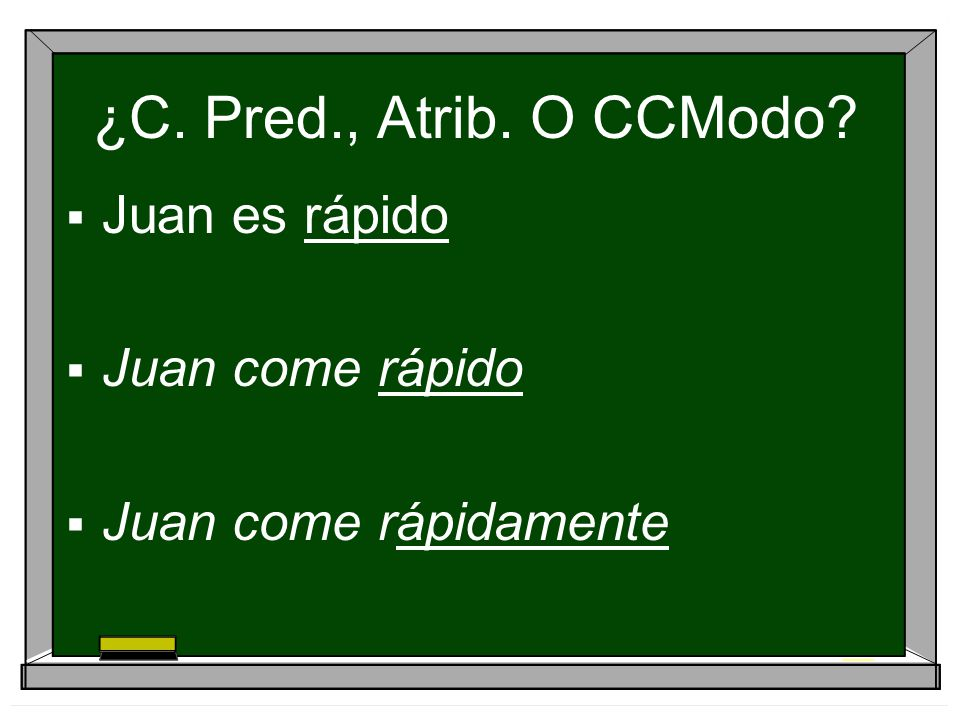 ¿C. Pred., Atrib. O CCModo Juan es rápido Juan come rápido