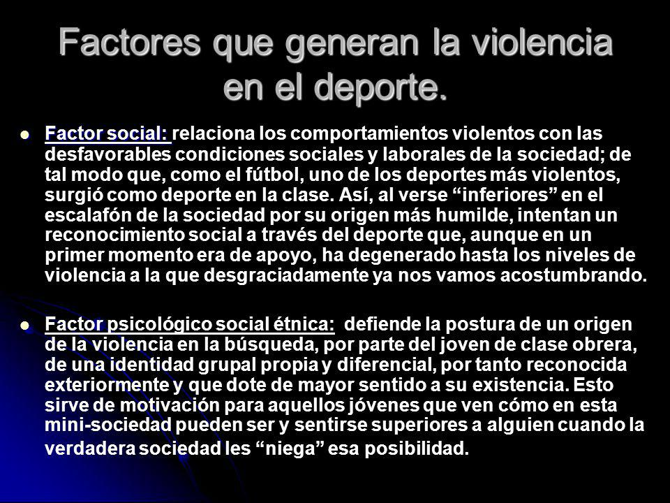 Factores que generan la violencia en el deporte.