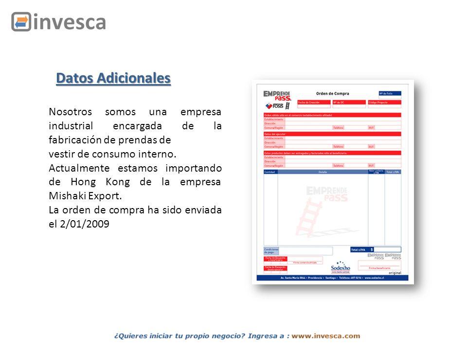 Datos Adicionales Nosotros somos una empresa industrial encargada de la fabricación de prendas de. vestir de consumo interno.