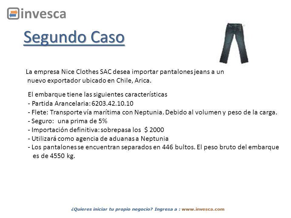 Segundo Caso La empresa Nice Clothes SAC desea importar pantalones jeans a un. nuevo exportador ubicado en Chile, Arica.