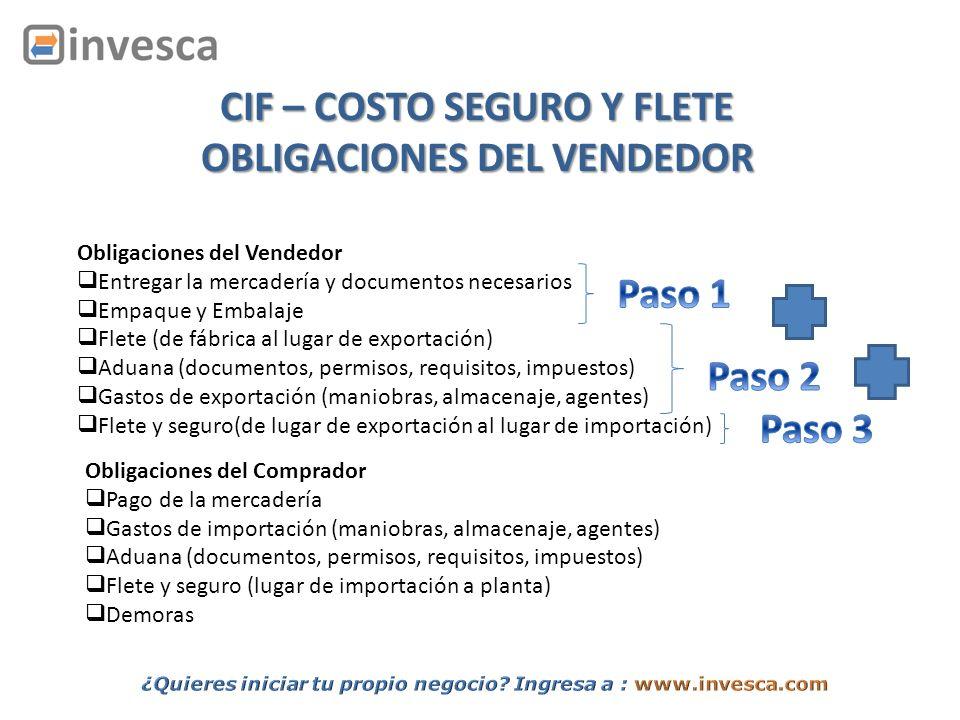 CIF – COSTO SEGURO Y FLETE OBLIGACIONES DEL VENDEDOR