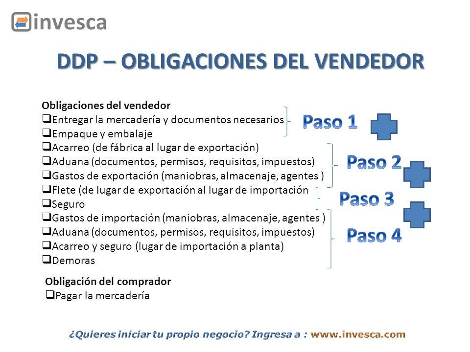DDP – OBLIGACIONES DEL VENDEDOR