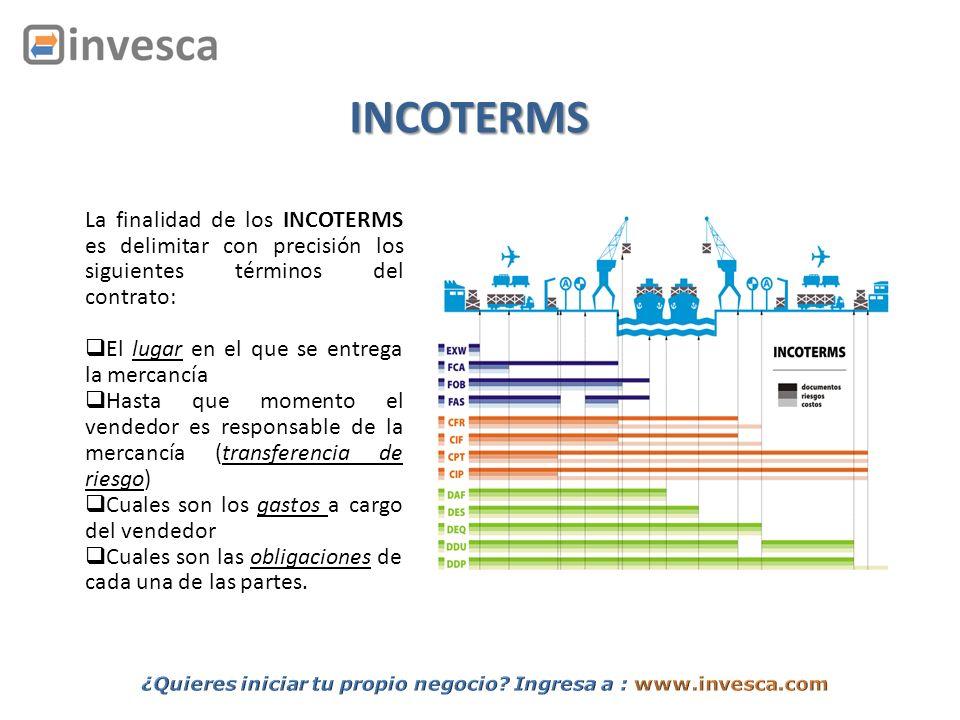 INCOTERMS La finalidad de los INCOTERMS es delimitar con precisión los siguientes términos del contrato: