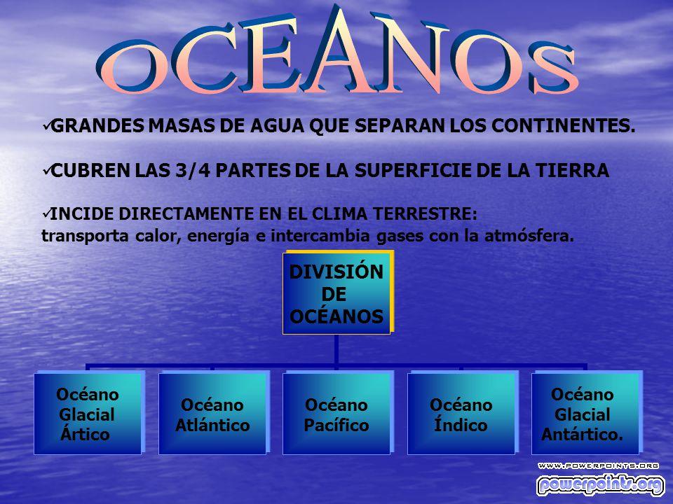 OCEANOS GRANDES MASAS DE AGUA QUE SEPARAN LOS CONTINENTES.