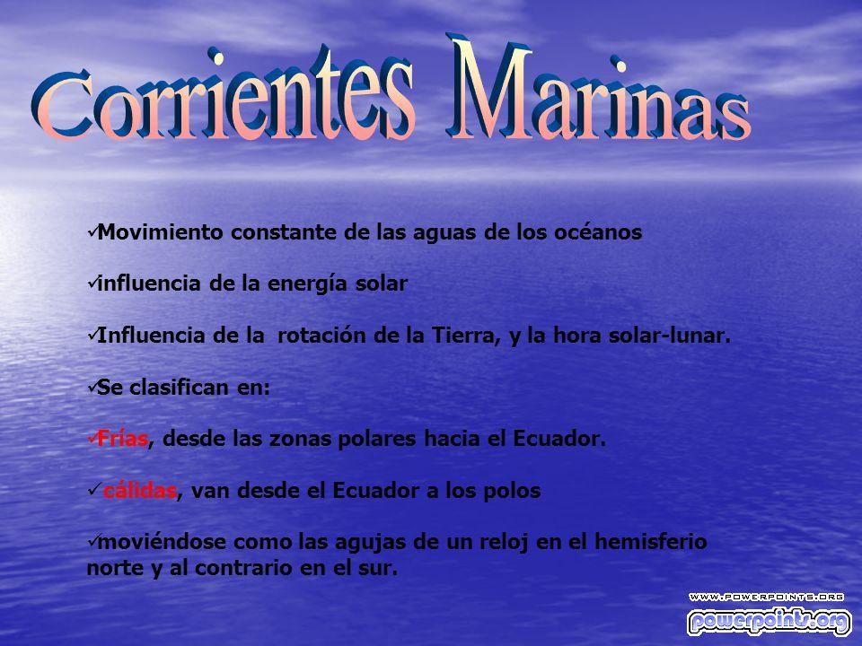 Corrientes Marinas Movimiento constante de las aguas de los océanos