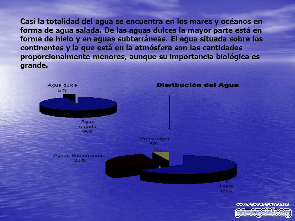 Casi la totalidad del agua se encuentra en los mares y océanos en forma de agua salada.