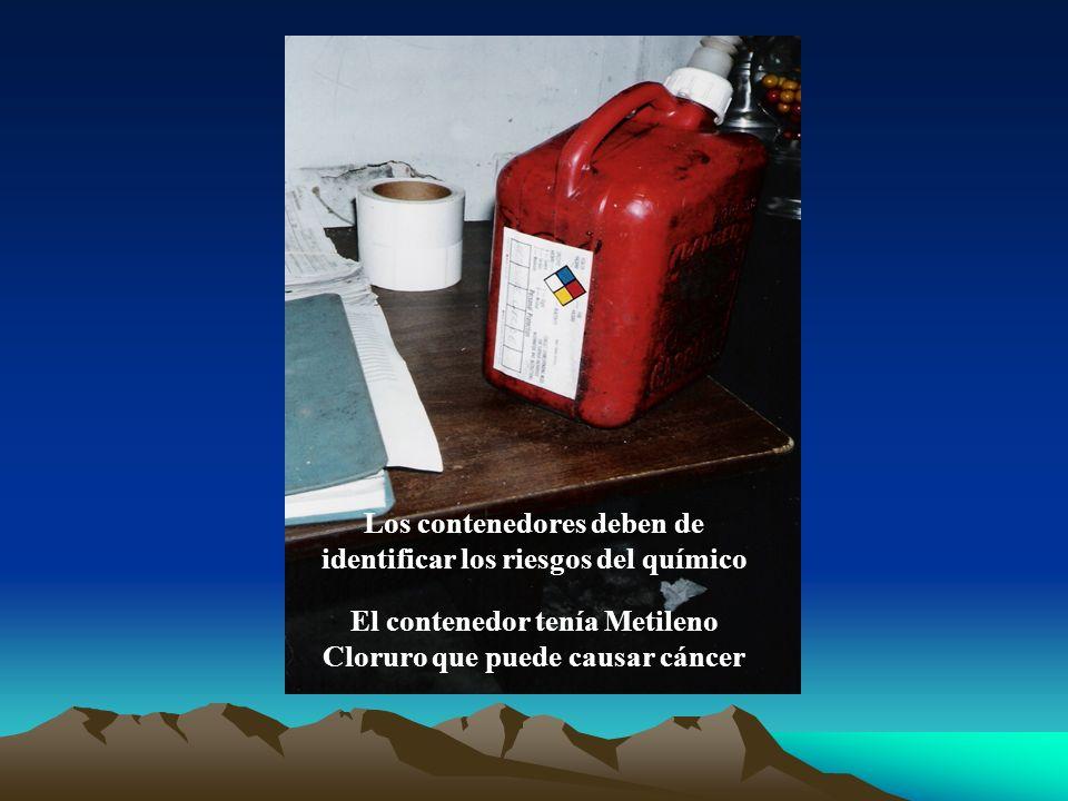 Los contenedores deben de identificar los riesgos del químico