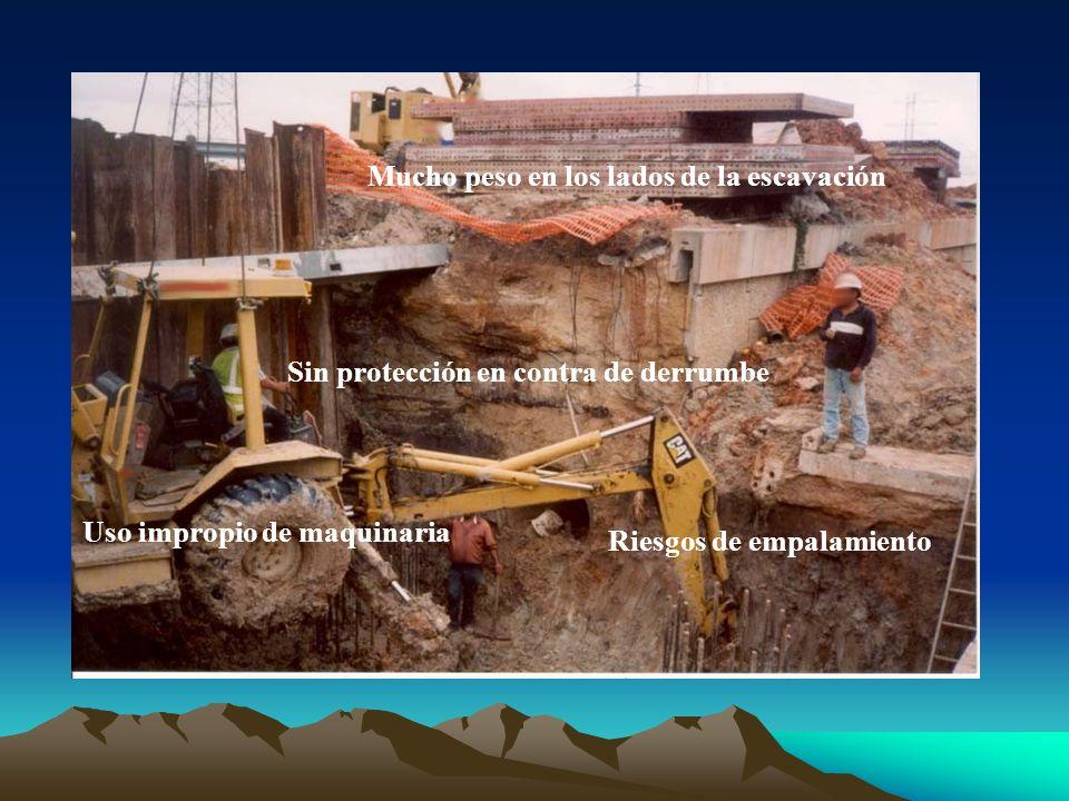Mucho peso en los lados de la escavación