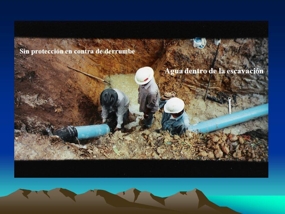 Agua dentro de la escavación