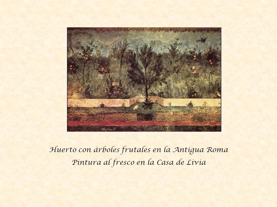 Huerto con árboles frutales en la Antigua Roma