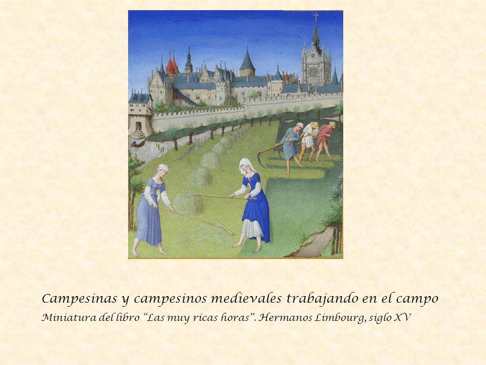 Campesinas y campesinos medievales trabajando en el campo