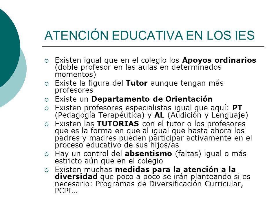 ATENCIÓN EDUCATIVA EN LOS IES